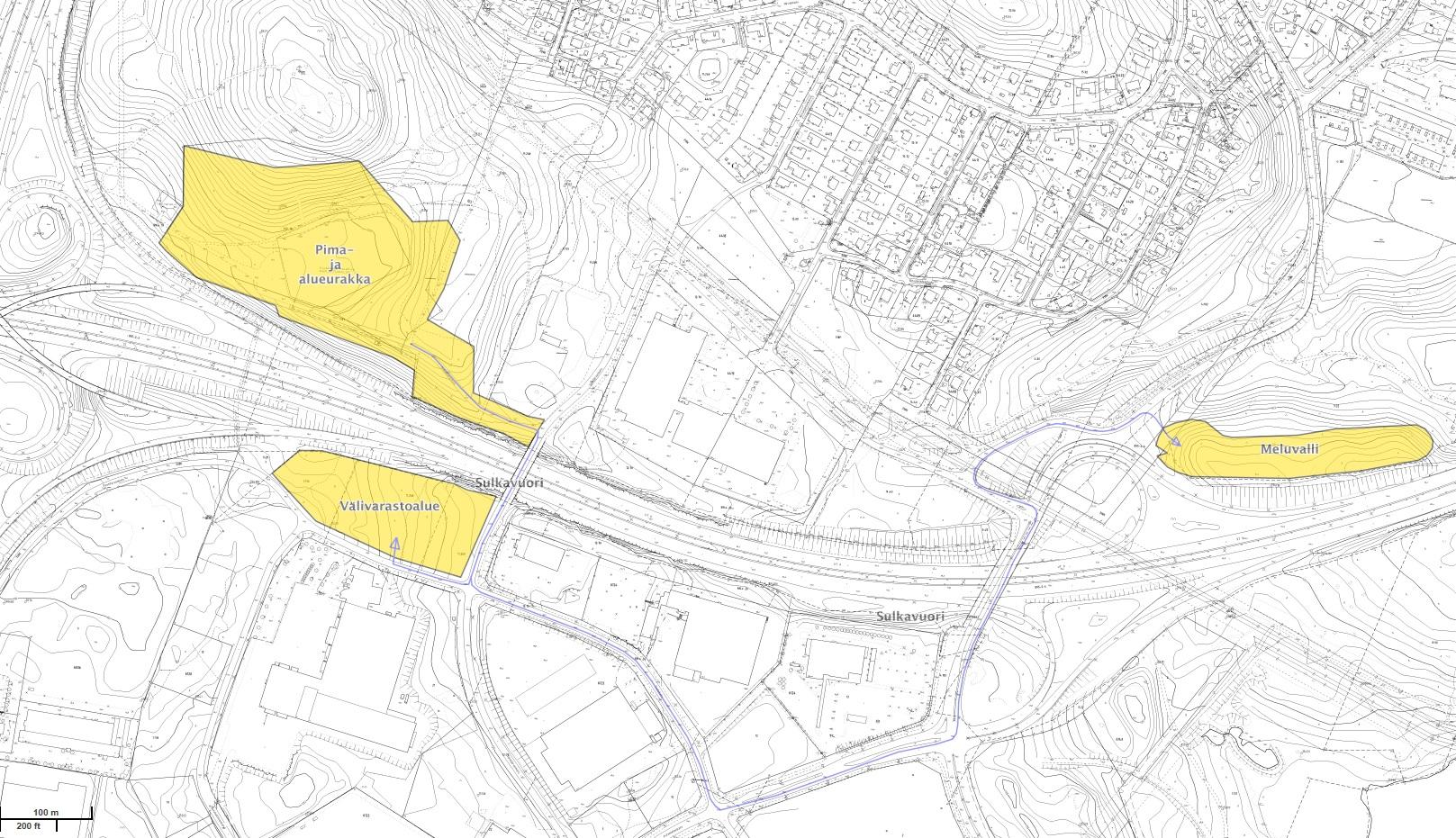 Puunkaato alueet on merkitty keltaisella