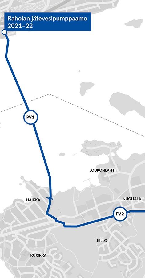 Kartalla on esitetty siirtoviemärilinja Rahola-Satamakatu (PV1).